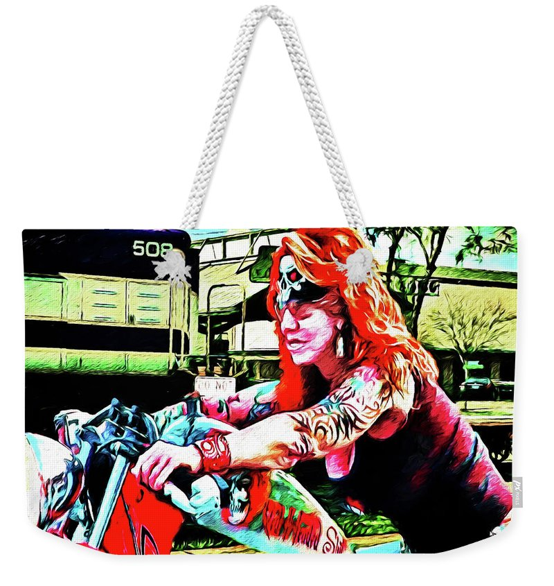 Harley Davidson Weekender Tote Bag featuring the photograph The Red Headed Slut by Rogermike Wilson