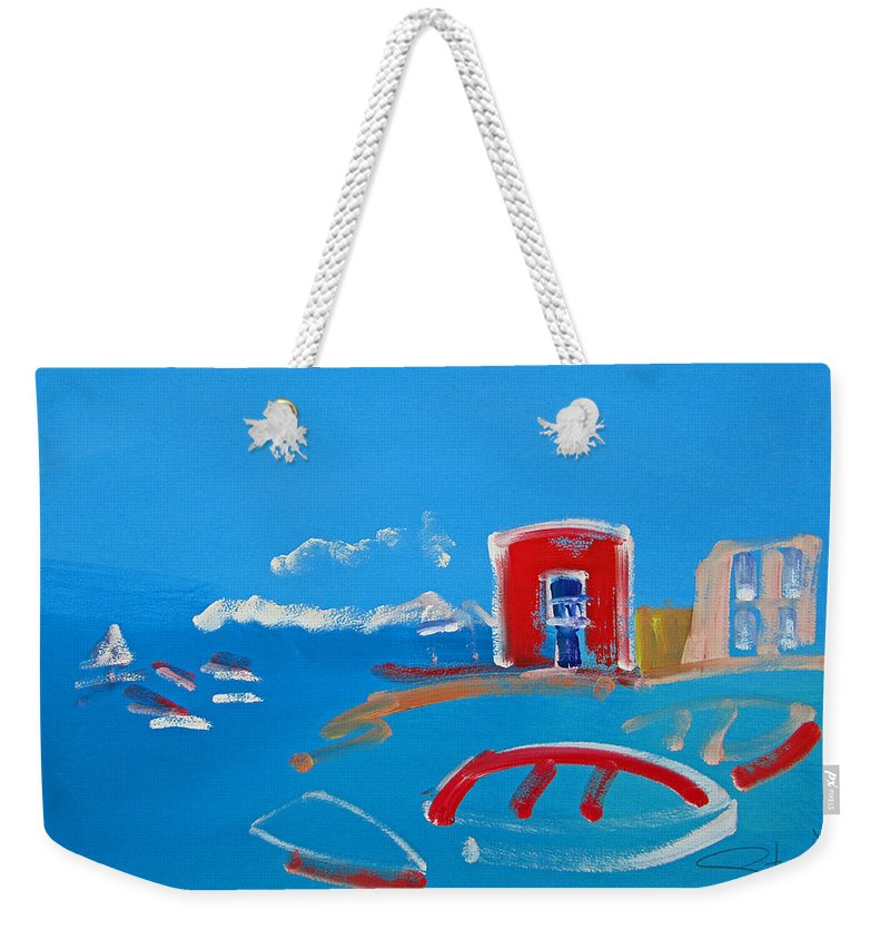 Puerto Weekender Tote Bag featuring the painting The Red House La Casa Roja by Charles Stuart