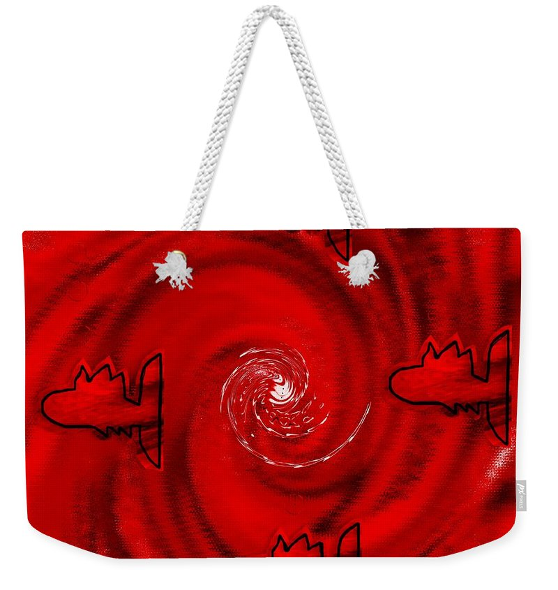 Fishes Weekender Tote Bag featuring the mixed media The Red Sea by Pepita Selles