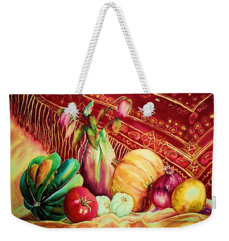Reds Weekender Tote Bag featuring the painting The Red Shawl by Carole Spandau