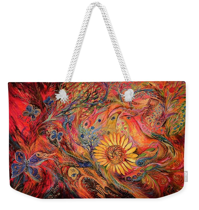 Original Weekender Tote Bag featuring the painting The Red Sirocco by Elena Kotliarker