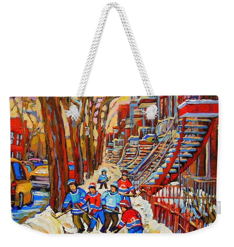 Weekender Tote Bag featuring the painting The Red Staircase Painting By Montreal Streetscene Artist Carole Spandau by Carole Spandau