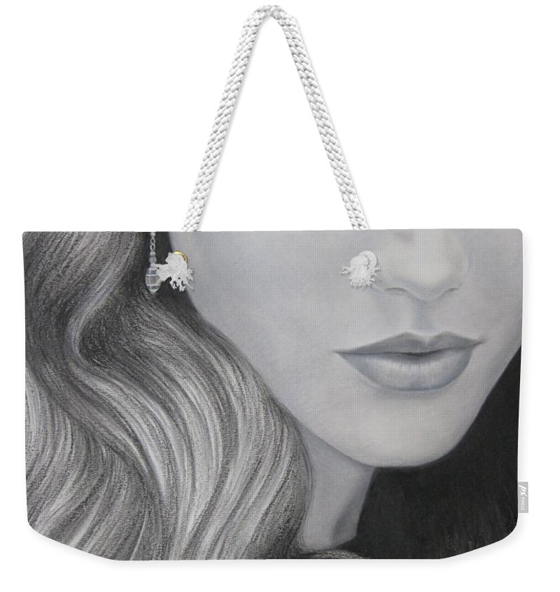 Woman Weekender Tote Bag featuring the painting The Red Umbrella by Lynet McDonald