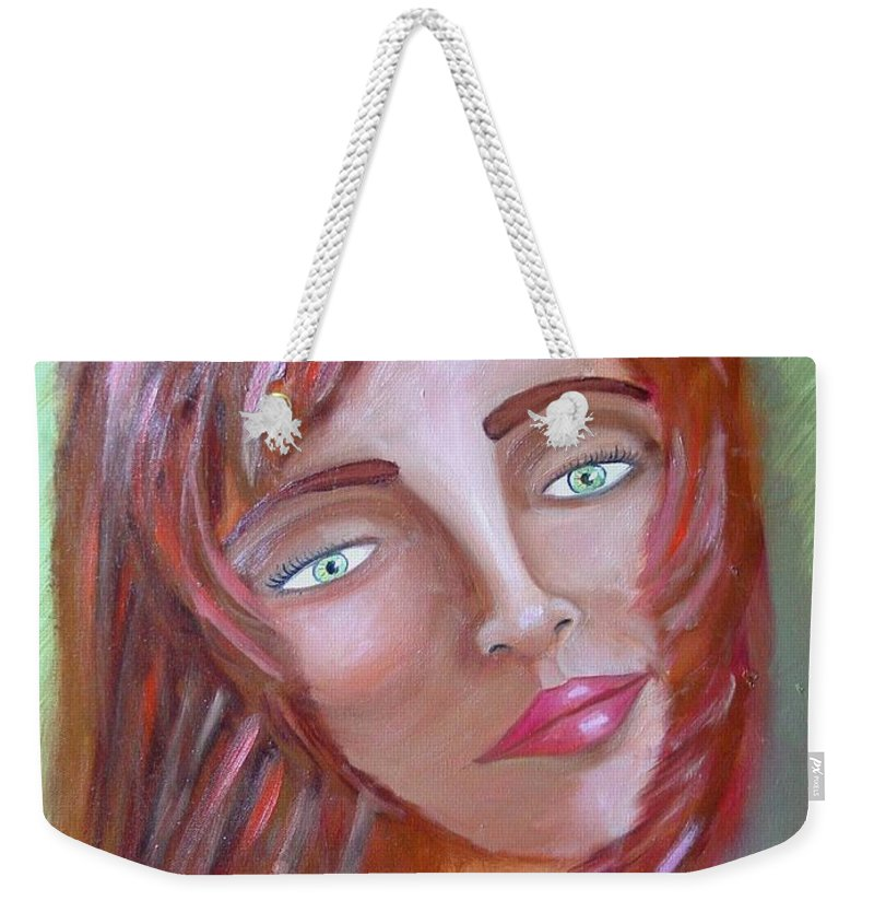 Redheads Weekender Tote Bag featuring the painting The Redhead by Laurie Morgan
