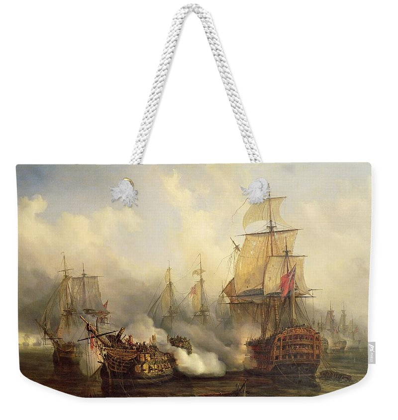 The Weekender Tote Bag featuring the painting Unknown Title Sea Battle by Auguste Etienne Francois Mayer