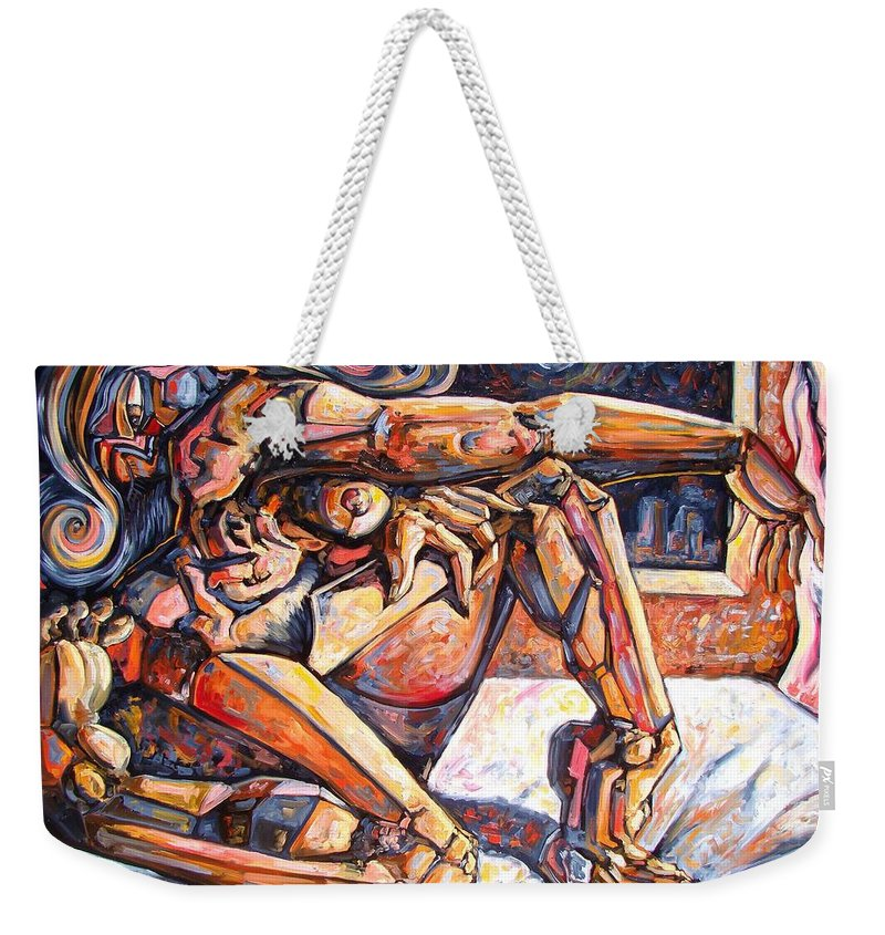 Surrealism Weekender Tote Bag featuring the painting The Reflection Of The Muse by Darwin Leon