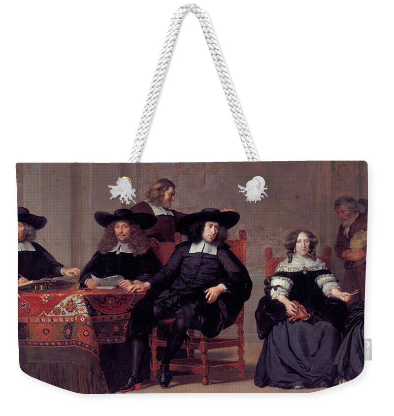 Adriaen Backer Weekender Tote Bag featuring the painting The Regents Of The Old Men And Women Hospital In Amsterdam by Adriaen Backer