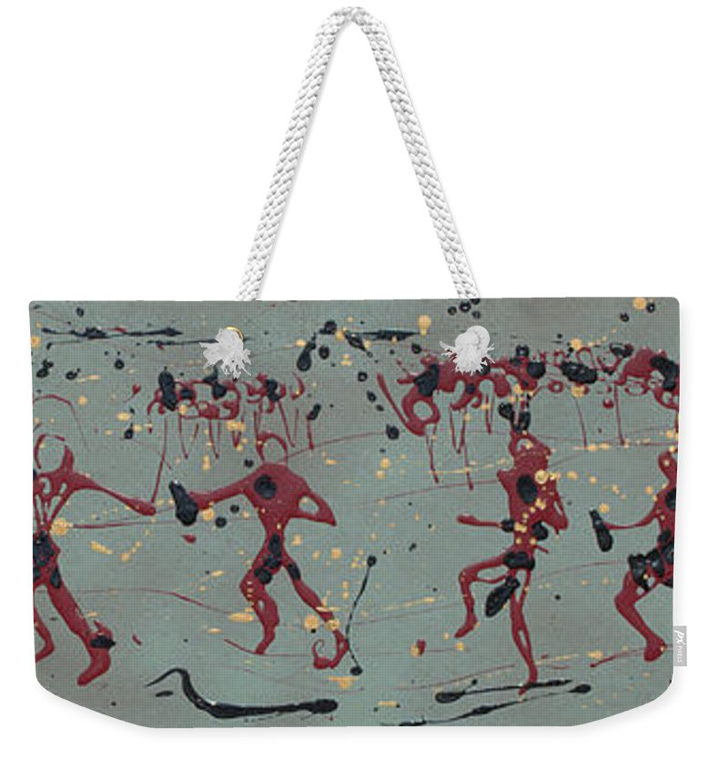 Abstract Art Weekender Tote Bag featuring the painting The Relay Race by J R Seymour