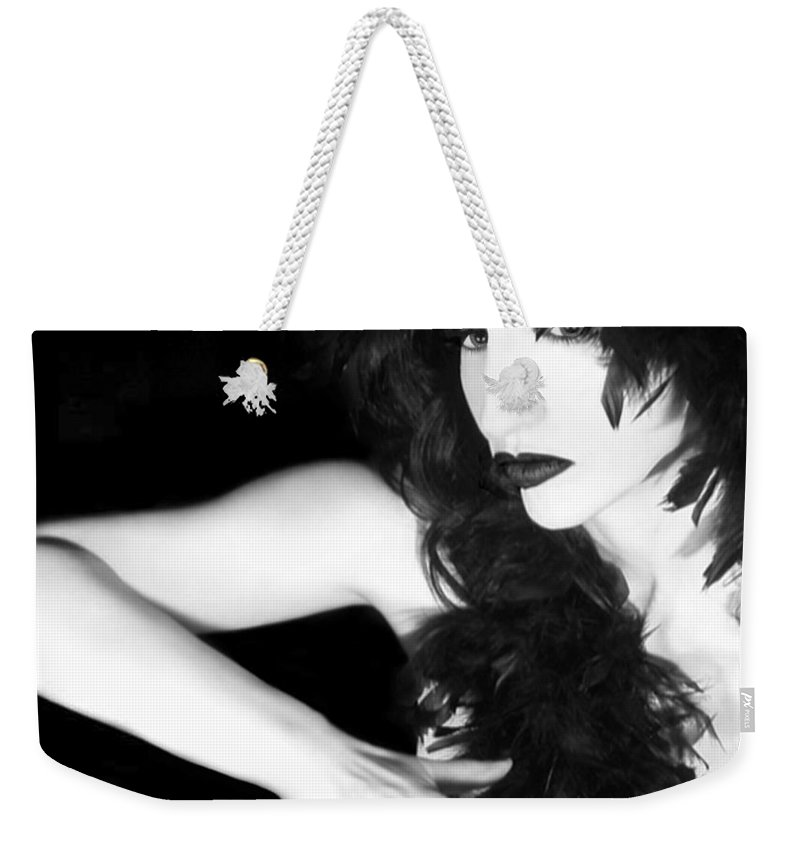 Woman Weekender Tote Bag featuring the photograph The Reluctant Reveal - Self Portrait by Jaeda DeWalt