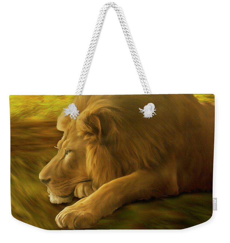 Lion Weekender Tote Bag featuring the painting The Rest by Jack Zulli