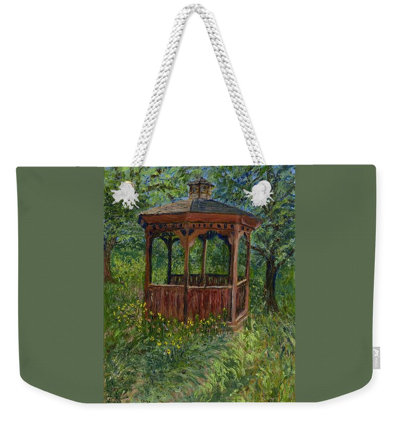 Nature Weekender Tote Bag featuring the painting The Retreat by Alice Faber