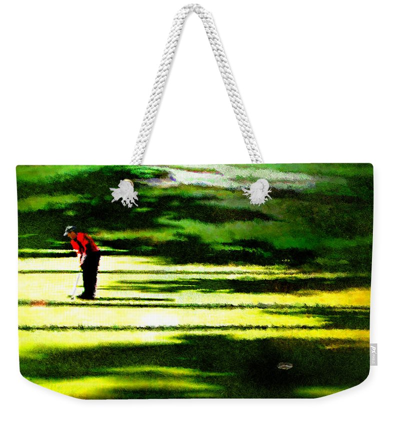 Golf Art Weekender Tote Bag featuring the digital art The Return Of The Tiger 05 by Miki De Goodaboom