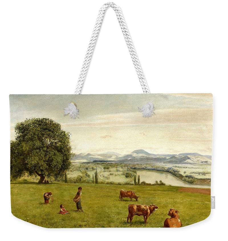 Hans Thoma Weekender Tote Bag featuring the painting The Rhine Valley Near Sackingen by Hans Thoma