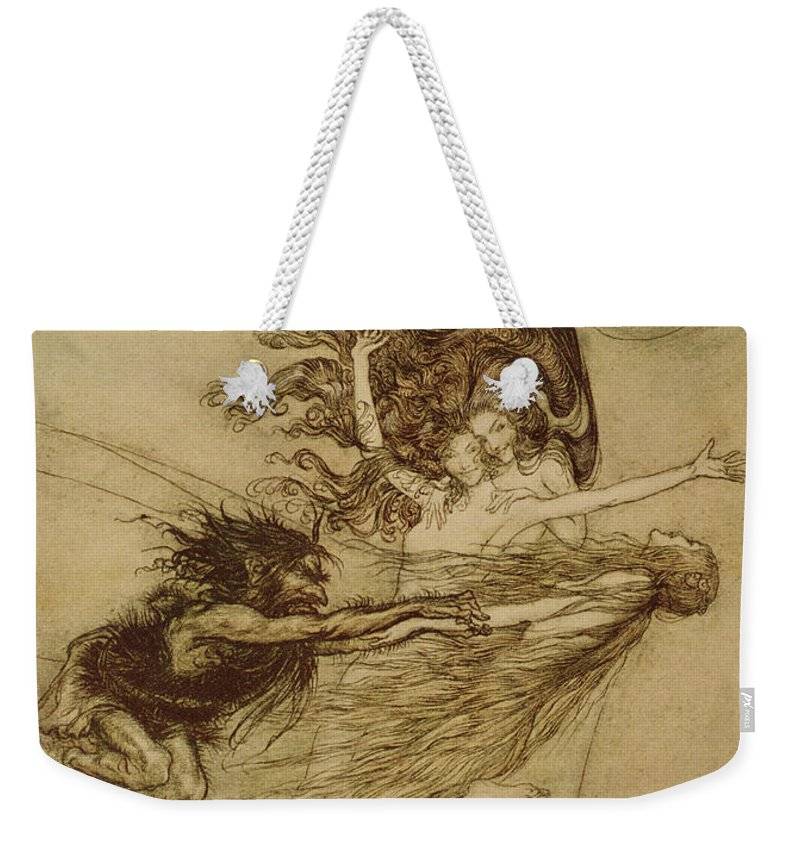 the Rhinemaidens Teasing Alberich From 'the Rhinegold And The Valkyrie' By Richard Wagner Weekender Tote Bag featuring the drawing The Rhinemaidens Teasing Alberich by Arthur Rackham