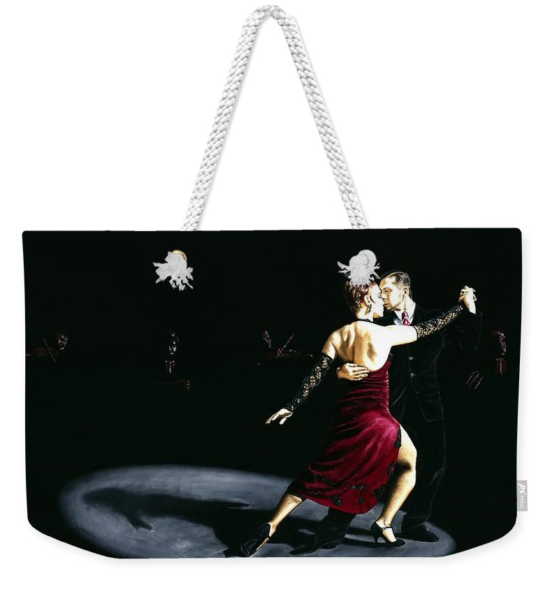 Tango Weekender Tote Bag featuring the painting The Rhythm Of Tango by Richard Young