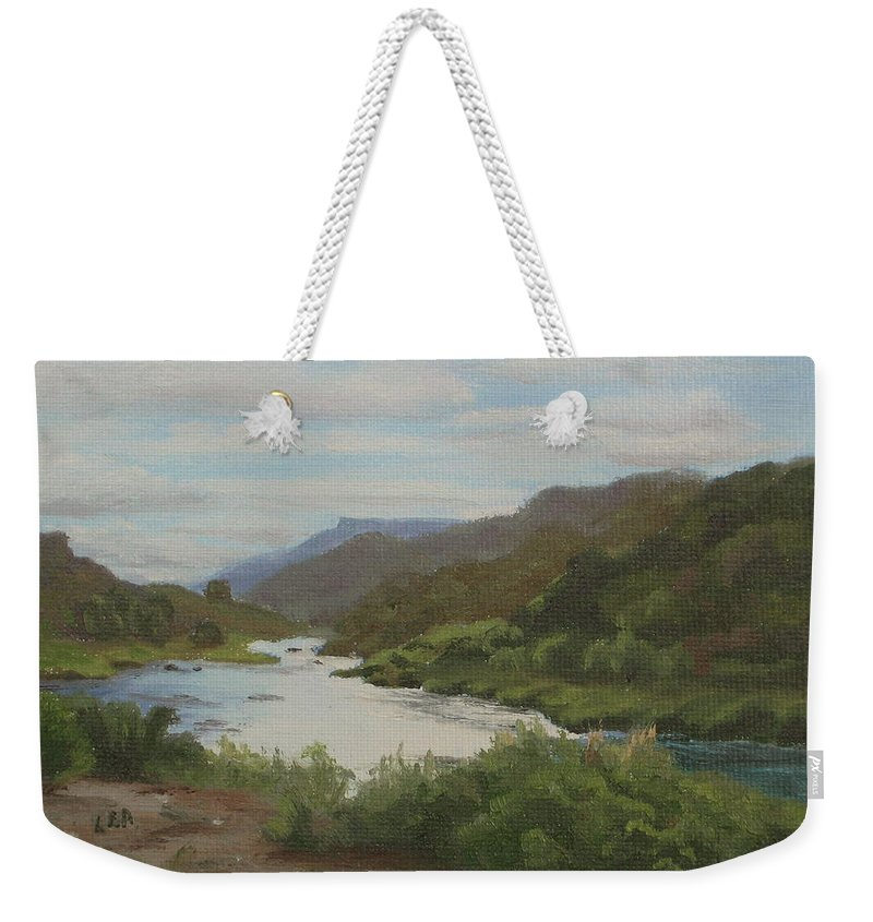 Landscape Weekender Tote Bag featuring the painting The Rio Grande Between Taos And Santa Fe by Lea Novak