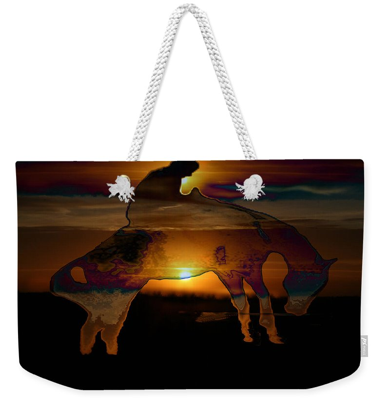 Cowboy Horse Bronc Rider Rodeo Sunrise Skyline Skyscape Sun Clouds Rider Weekender Tote Bag featuring the photograph The Ripple Effect by Andrea Lawrence