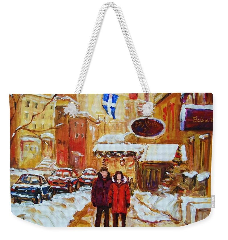 Streetscene Weekender Tote Bag featuring the painting The Ritz Carlton by Carole Spandau