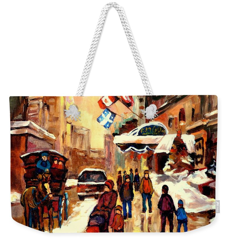 The Ritz Carlton Montreal Streetscenes Weekender Tote Bag featuring the painting The Ritz Carlton Montreal Streetscene by Carole Spandau