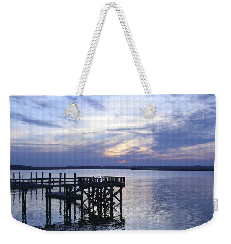 Landscape Weekender Tote Bag featuring the photograph The River At Dusk by Phill Doherty