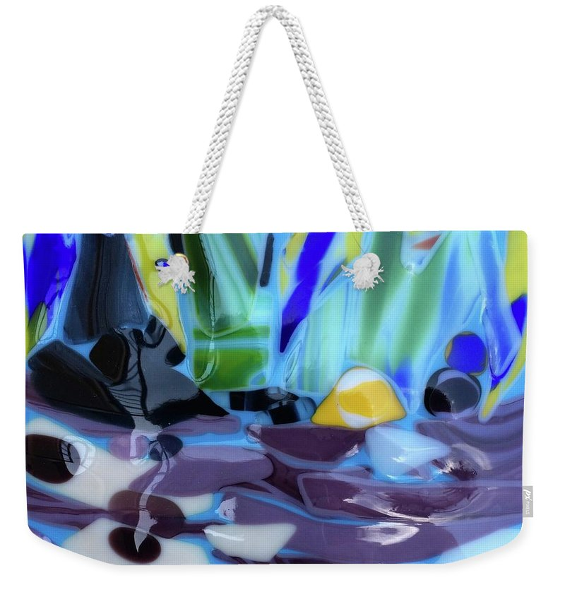 Glass Weekender Tote Bag featuring the glass art The River by Suzanne Udell Levinger