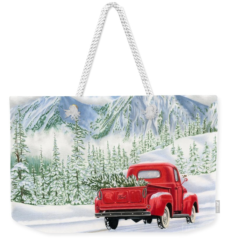 Christmas Truck Weekender Tote Bag featuring the painting The Road Home by Sarah Batalka