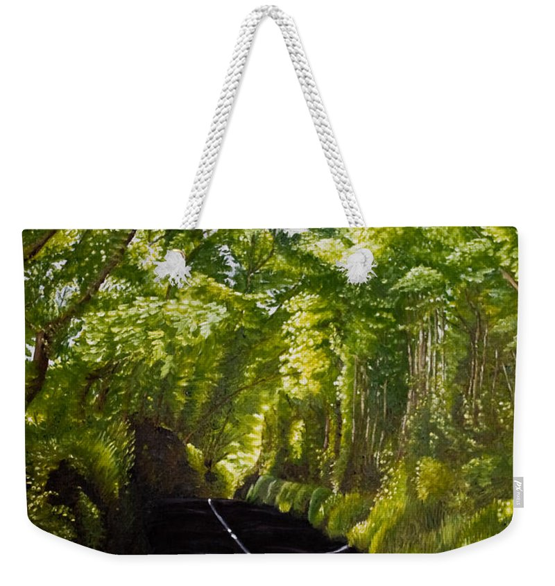 Landscape Weekender Tote Bag featuring the painting The Road Through Glenastar by Pauline Sharp