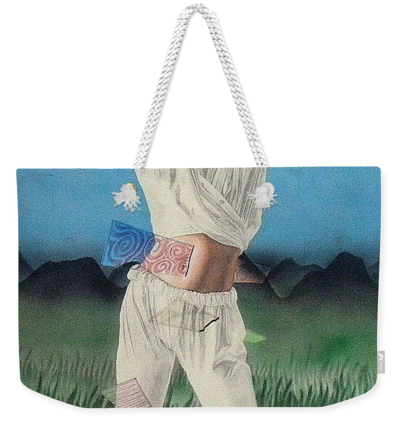 Fashion Weekender Tote Bag featuring the painting The Road To Fashion by Shaun McNicholas