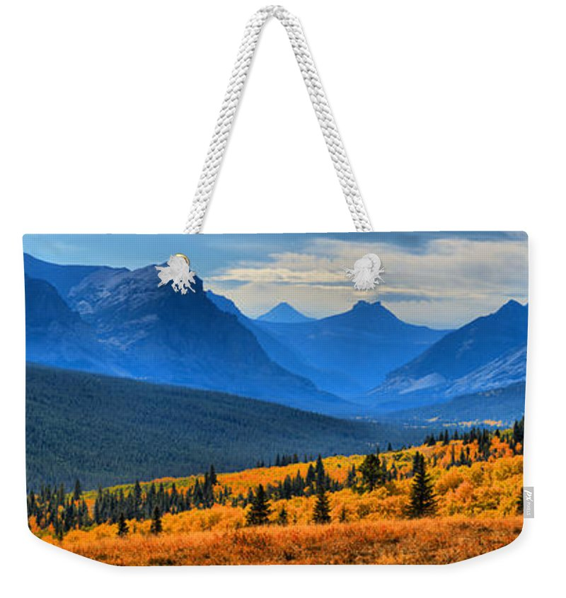 Montana Highway 2 Weekender Tote Bag featuring the photograph The Road To Glacier by Adam Jewell