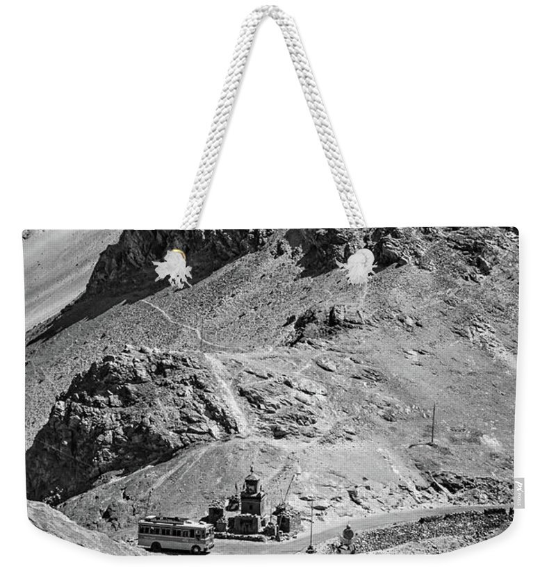 Lladakh Weekender Tote Bag featuring the photograph The Road To Ladakh Bw by Steve Harrington