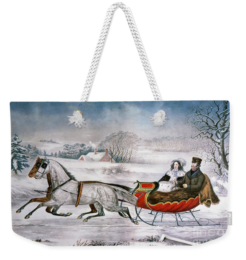 Weekender Tote Bag featuring the painting The Road-winter, 1853 by Granger