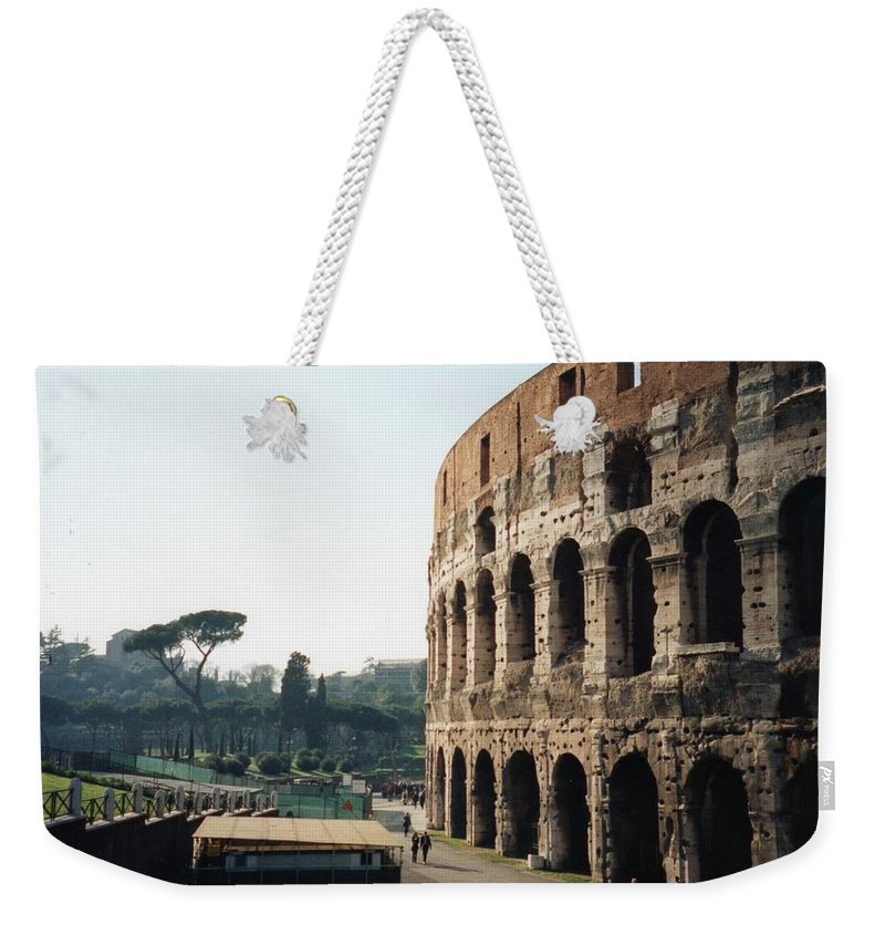 Roman Weekender Tote Bag featuring the photograph The Roman Colosseum by Marna Edwards Flavell