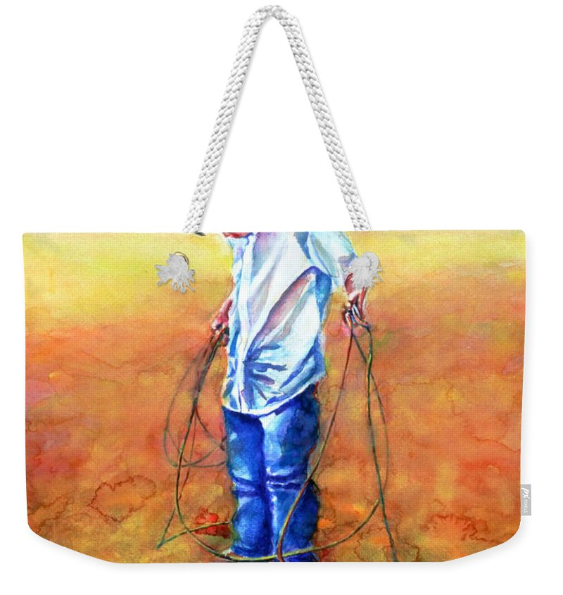 Child Weekender Tote Bag featuring the painting The Roping Lesson by Shannon Grissom