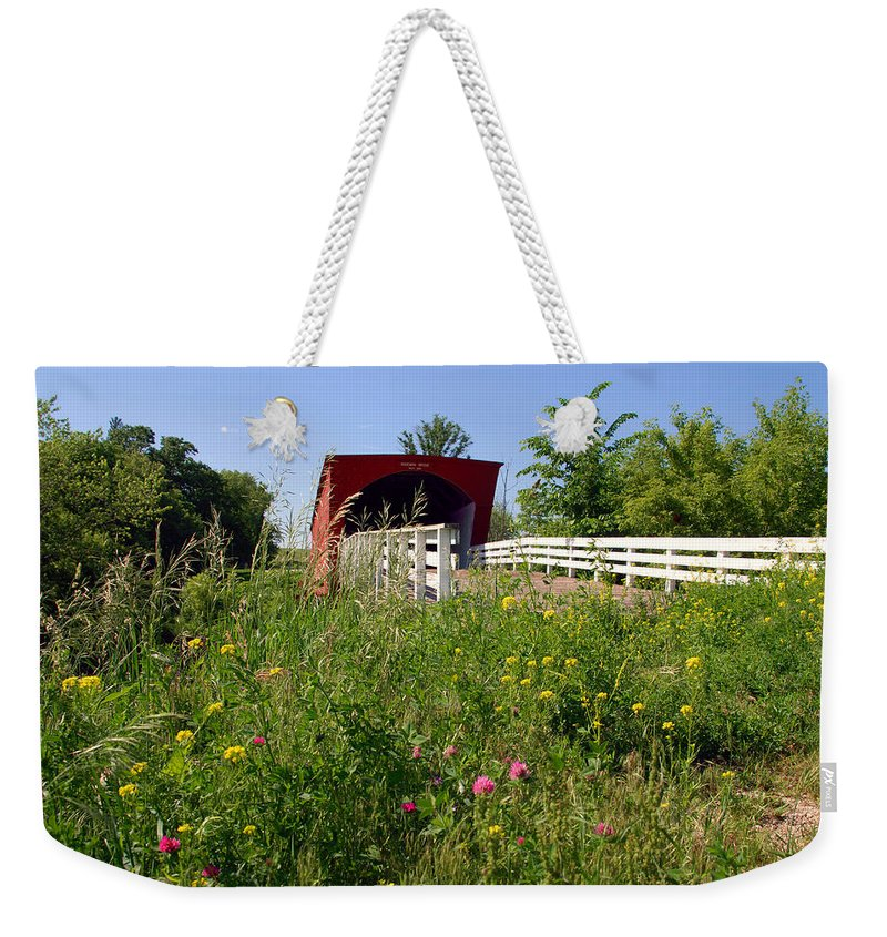 Photography Weekender Tote Bag featuring the photograph The Roseman Bridge In Madison County Iowa by Susanne Van Hulst