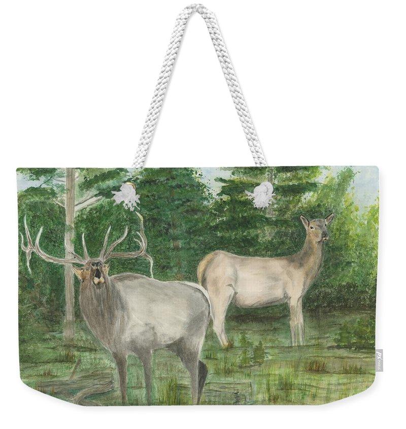 Bull Elk Weekender Tote Bag featuring the painting The Rut by Sara Stevenson