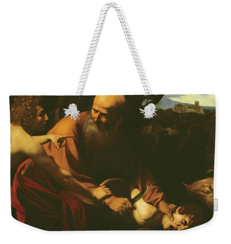 Caravaggio Weekender Tote Bag featuring the painting The Sacrifice Of Isaac by Caravaggio
