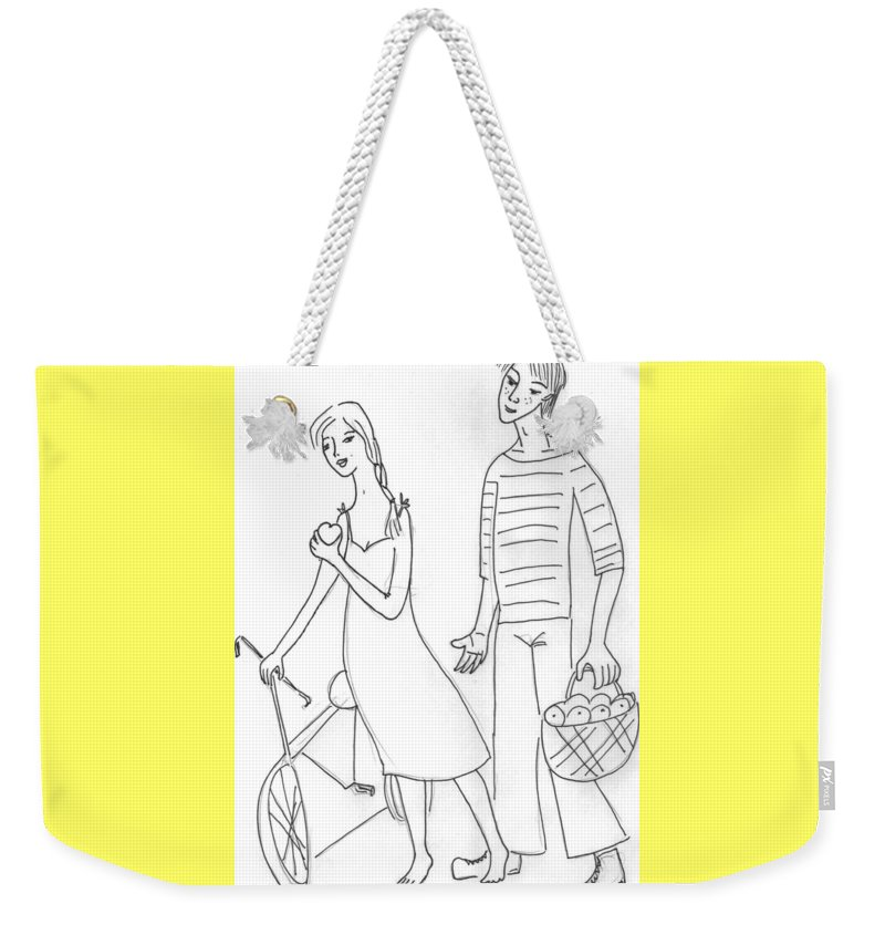 Weekender Tote Bag featuring the drawing The Sailor. by Yulia Shuster