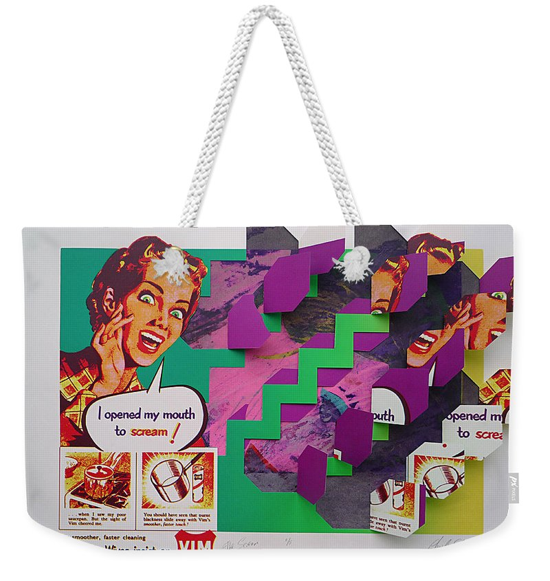 Psycho Weekender Tote Bag featuring the painting The Scream 2 by Charles Stuart