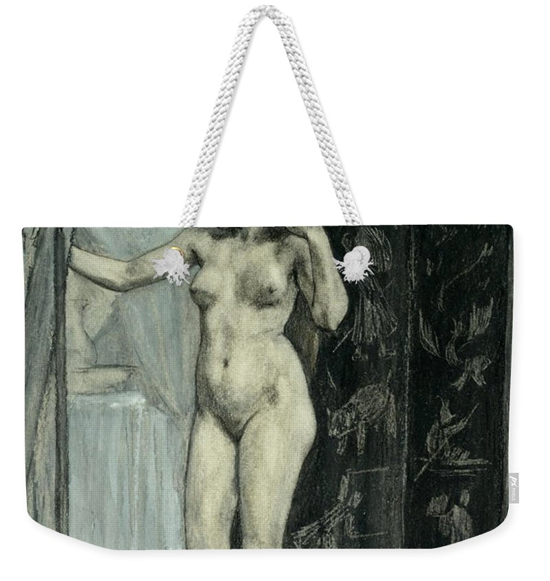 Felicien Rops Weekender Tote Bag featuring the drawing The Screen by Felicien Rops