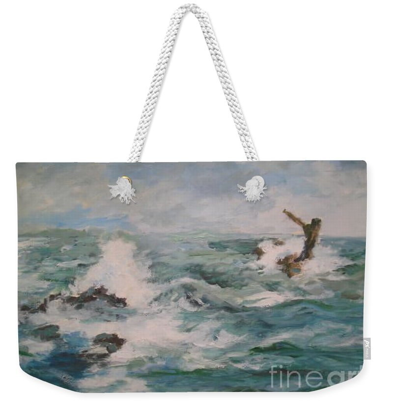 Realistic Weekender Tote Bag featuring the painting The Sea by Rushan Ruzaick