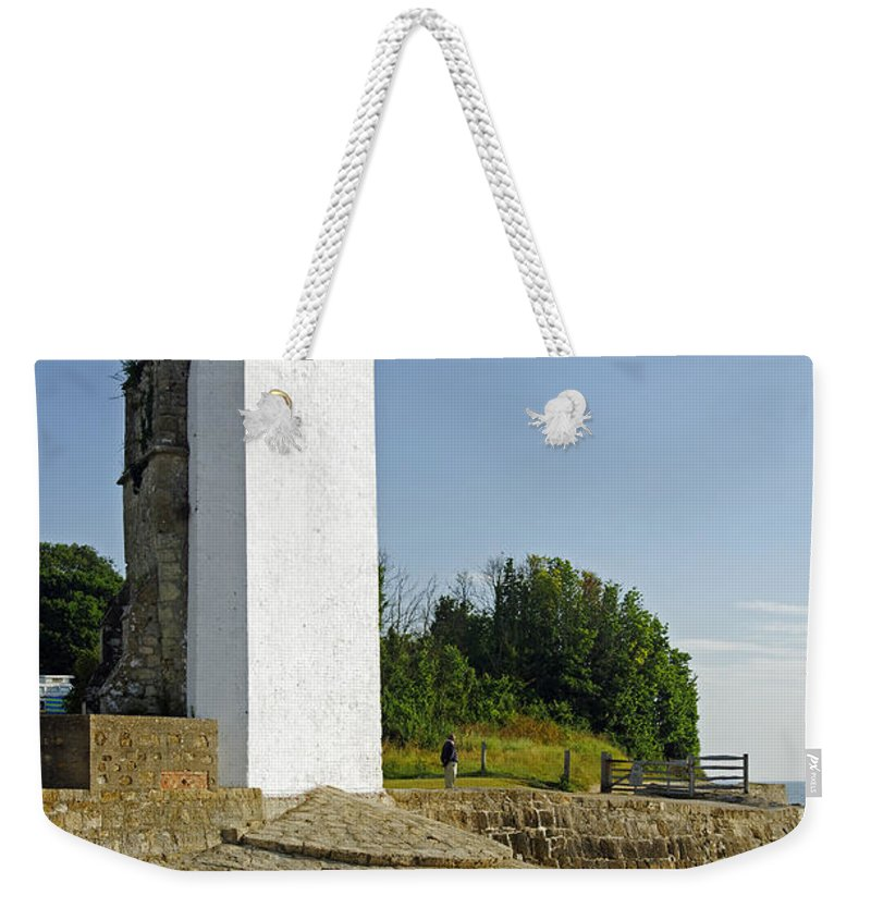 St Helens Weekender Tote Bag featuring the photograph The Seamark On St Helens Beach by Rod Johnson