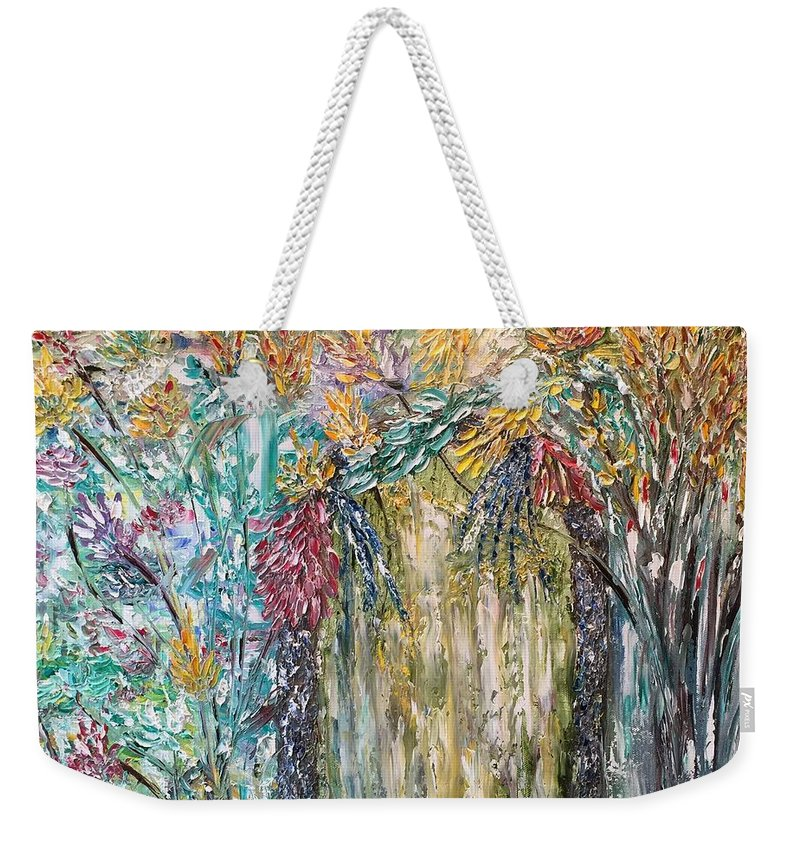 Secret Weekender Tote Bag featuring the painting The Secret Garden by Donna Painter