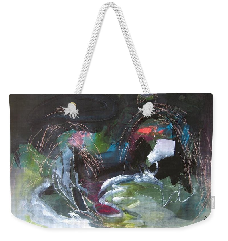 Abstract Weekender Tote Bag featuring the painting The Secret Of The Shadow Original Abstract Colorful Landscape Painting For Sale Red Blue Green by Seon-Jeong Kim