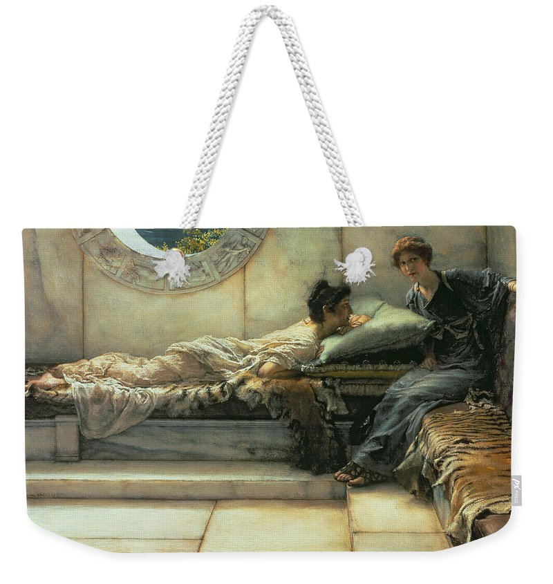 The Weekender Tote Bag featuring the painting The Secret by Sir Lawrence Alma-Tadema
