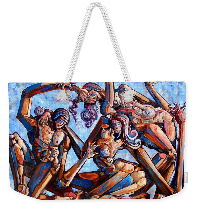 Surrealism Weekender Tote Bag featuring the painting The Seduction Of The Muses by Darwin Leon