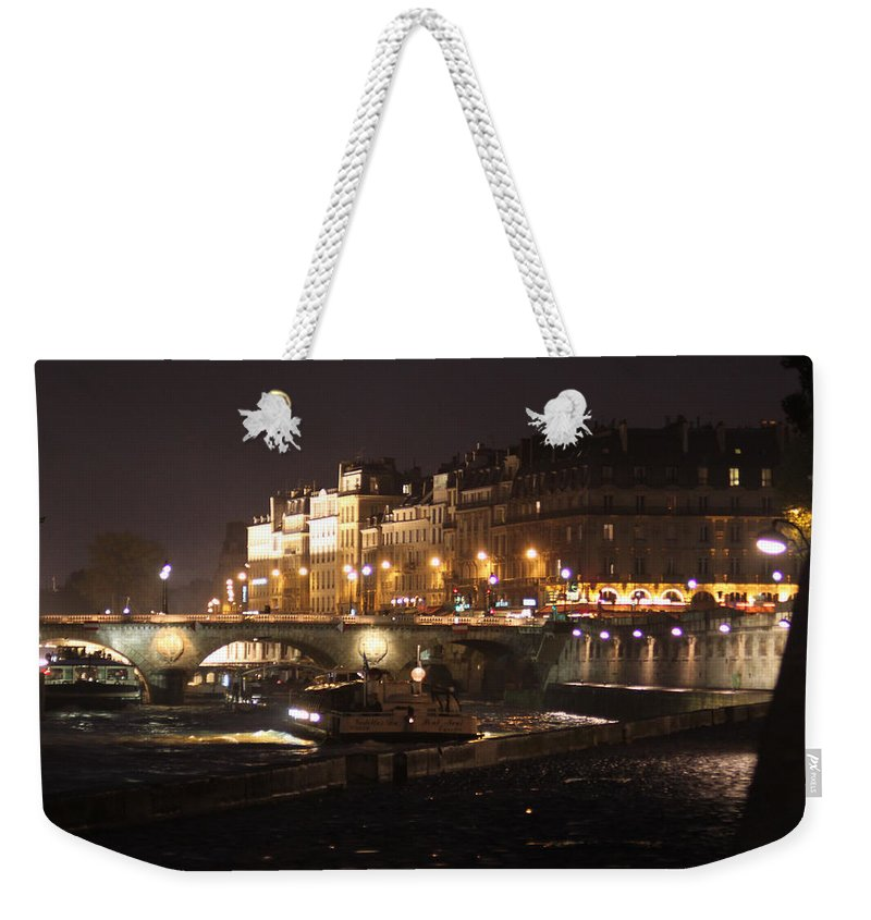 Seine Weekender Tote Bag featuring the photograph The Seine At Night by Mauverneen Blevins