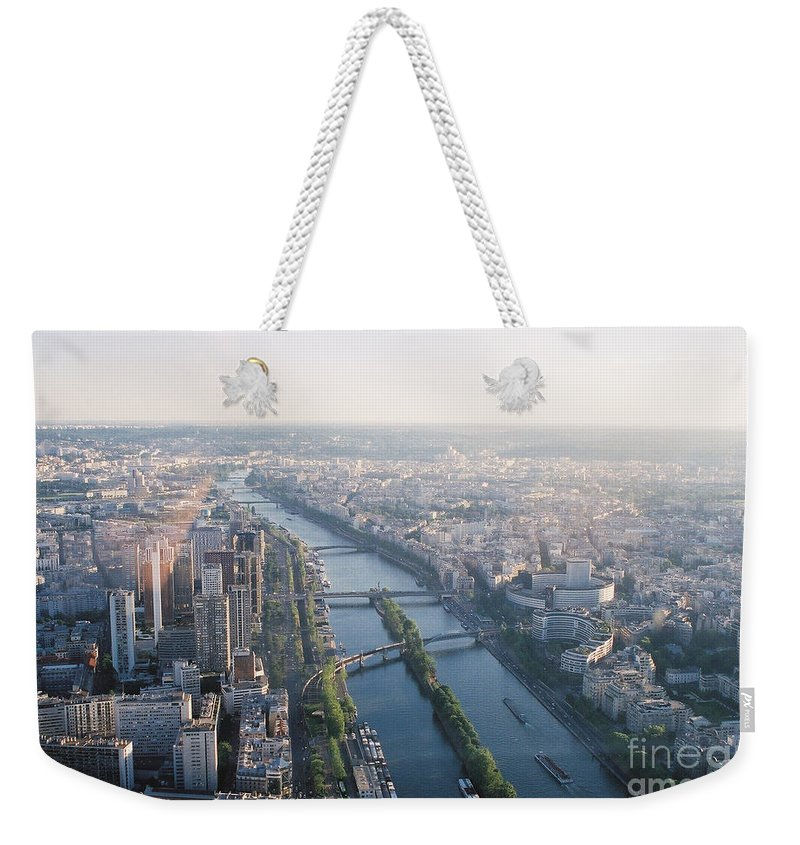 City Weekender Tote Bag featuring the photograph The Seine River in Paris by Nadine Rippelmeyer
