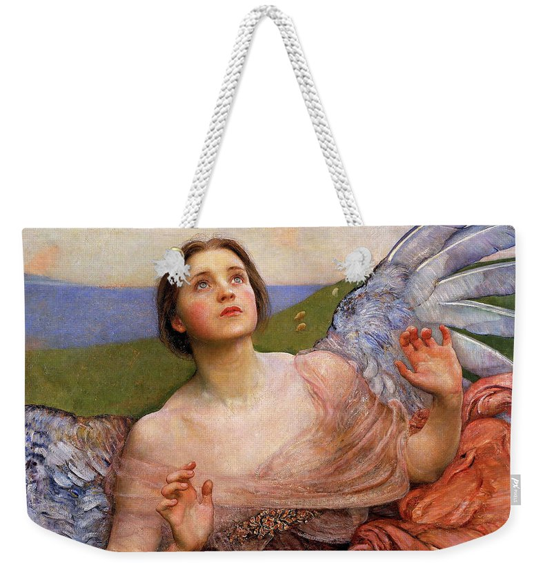 The Weekender Tote Bag featuring the painting The Sense Of Sight By Annie Swynnerton by Annie Swynnerton
