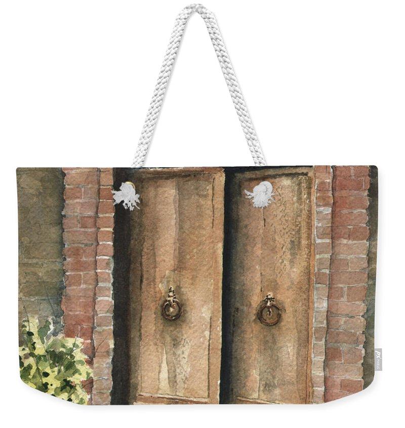Door Weekender Tote Bag featuring the painting The Sentinel by Sam Sidders