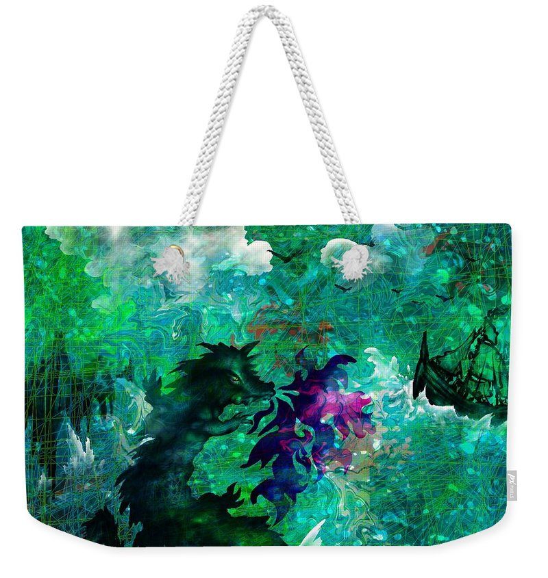 Abstract Weekender Tote Bag featuring the digital art The Serpent by Rachel Christine Nowicki